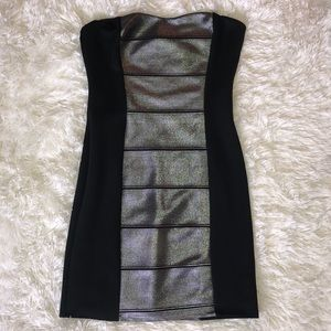Dresses & Skirts - Black Silver Metallic Strapless Sexy BodyCon Dress